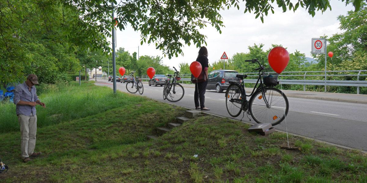 Luftballons an der Mannheimer Straße, Übergang einer evtl. 5. Neckarbrücke